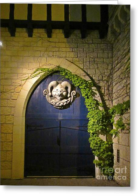 Fantasy Sculptures Greeting Cards - Castle Door at Night Greeting Card by John Malone