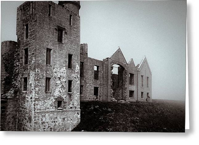 Frightening Castle Greeting Cards - Slains in the Fog Greeting Card by Dave Bowman