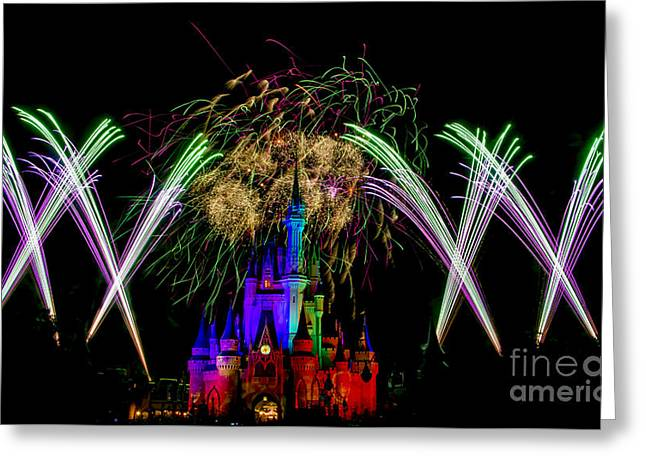 Castle Fireworks Finally Greeting Card by Darcy Michaelchuk