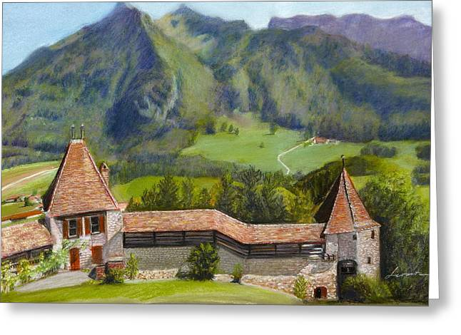 Swiss Pastels Greeting Cards - Castle Gruyere Swiss Greeting Card by Leonor Thornton