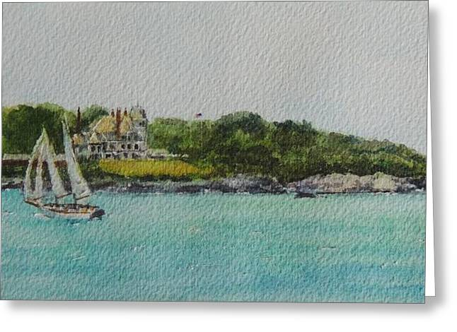 Sailboat Ocean Greeting Cards - Castle Hill Inn and Lighthouse Cruise Newport RI Greeting Card by Patty Kay Hall