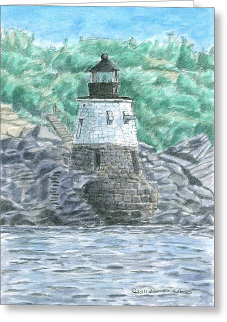New England Lighthouse Paintings Greeting Cards - Castle Hill Lighthouse Greeting Card by Dominic White