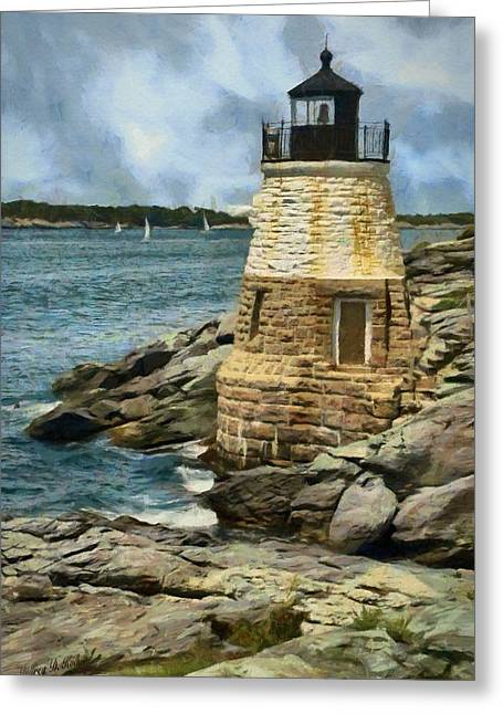 Castle Hill Lighthouse Greeting Card by Jeff Kolker