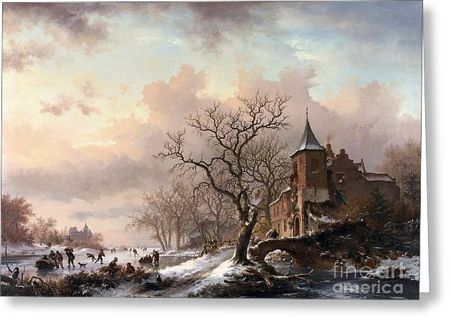Sledge Greeting Cards - Castle in a Winter Landscape and Skaters on a Fozen River Greeting Card by Celestial Images
