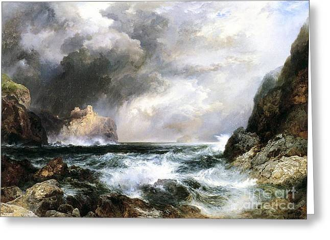 Rough Paintings Greeting Cards - Castle in Scotland Greeting Card by Thomas Moran