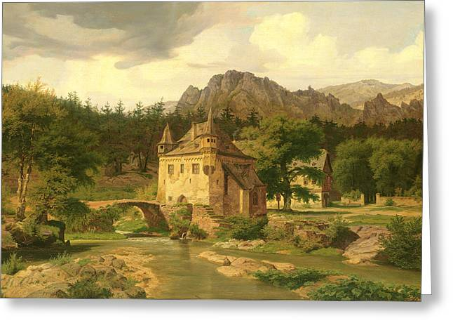 Gothic Germany Greeting Cards - Castle in the Mountains Greeting Card by Carl Dahl