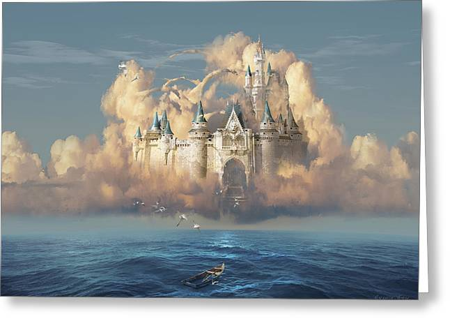 Castle In The Sky Greeting Card by George Grie