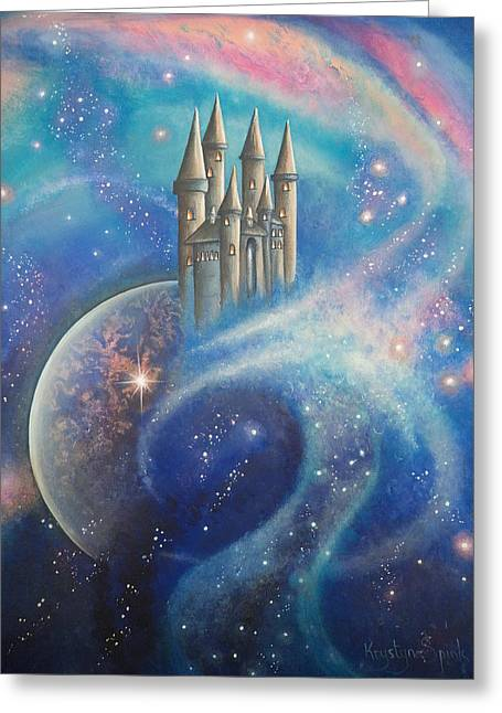 Castle In The Stars Greeting Card by Krystyna Spink