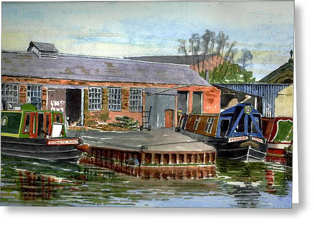 Repaired Paintings Greeting Cards - Castle Mill Boatyard. Oxford Greeting Card by Mike Lester