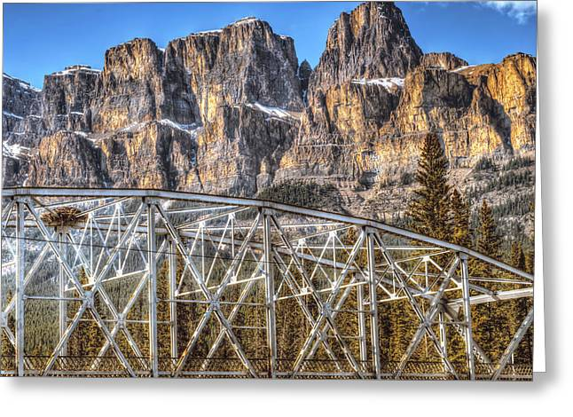 Western Canada Landscape Art Greeting Cards - Castle Mountain Bridge Greeting Card by Carol  Lux Photography