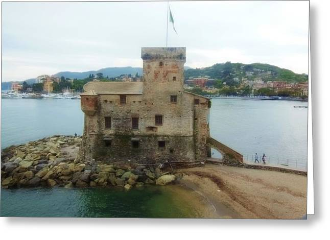 Castle Of Rapallo Greeting Card by Marilyn Dunlap