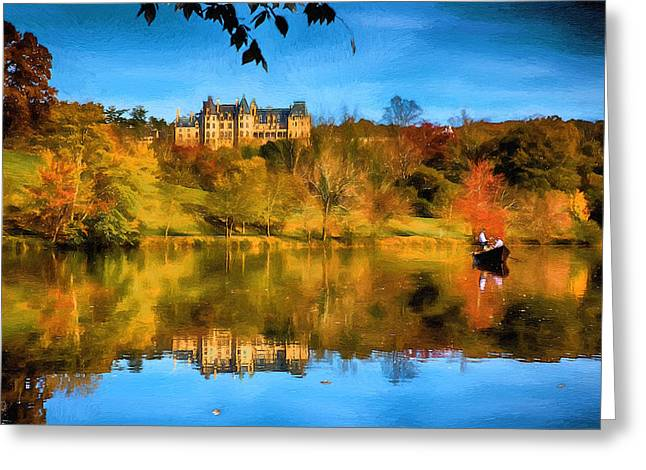 Castle Reflections Of Fall Greeting Card by John Haldane