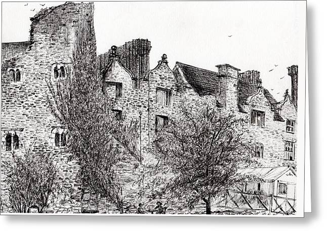 Bird On Tree Greeting Cards - Castle ruins at Hay on Wye Greeting Card by Vincent Alexander Booth