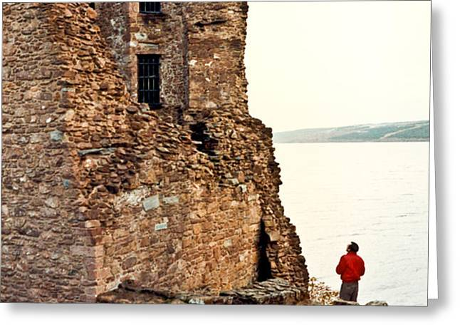 Castle Ruins on the Seashore in Ireland Greeting Card by Douglas Barnett