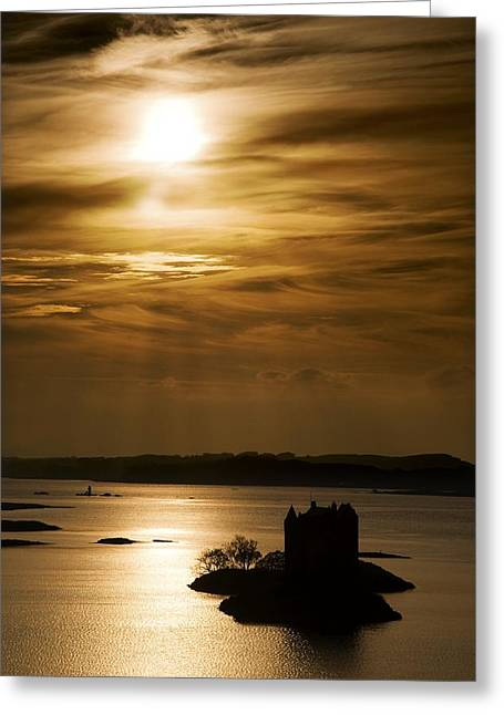 Nature Scene Greeting Cards - Castle Stalker At Sunset, Loch Laich Greeting Card by John Short