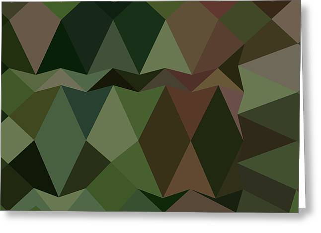 Castleton Greeting Cards - Castleton Green Abstract Low Polygon Background Greeting Card by Aloysius Patrimonio