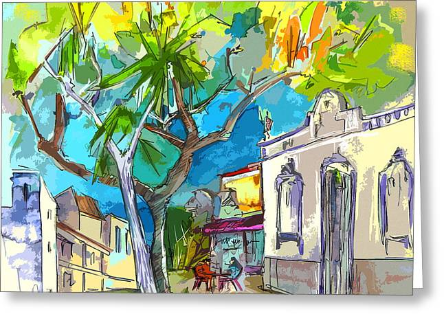 Travel Sketch Drawings Greeting Cards - Castro Marim Portugal 14 bis Greeting Card by Miki De Goodaboom
