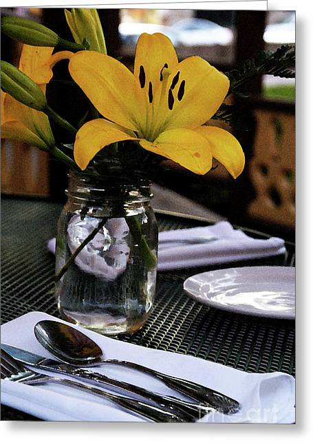 Table Cloth Greeting Cards - Casual Affair Greeting Card by Linda Knorr Shafer