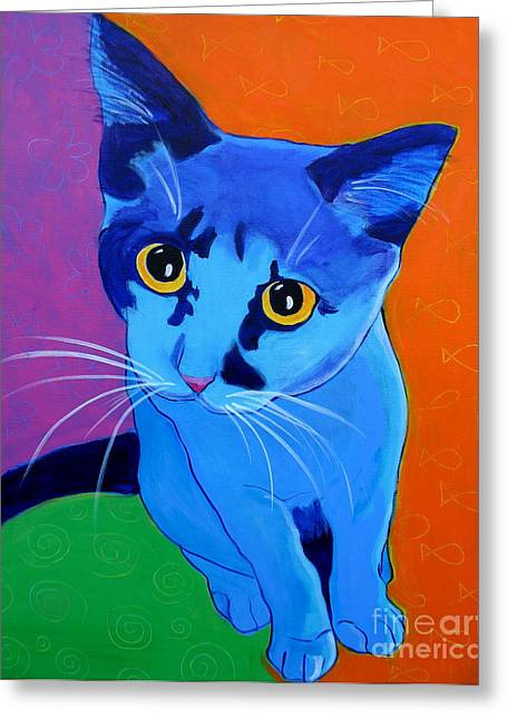 Cute Kitten Paintings Greeting Cards - Cat - Kitten Blue Greeting Card by Alicia VanNoy Call
