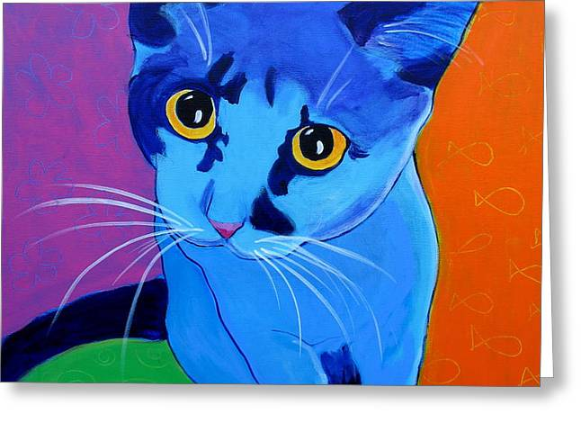 Cat - Kitten Blue Greeting Card by Alicia VanNoy Call