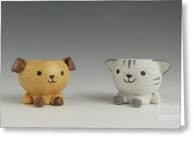 Cat And Dog Greeting Card by David Bearden
