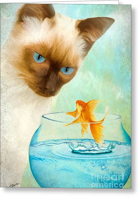 Goldfish Mixed Media Greeting Cards - Cat and Fish Greeting Card by AnaCB Studio