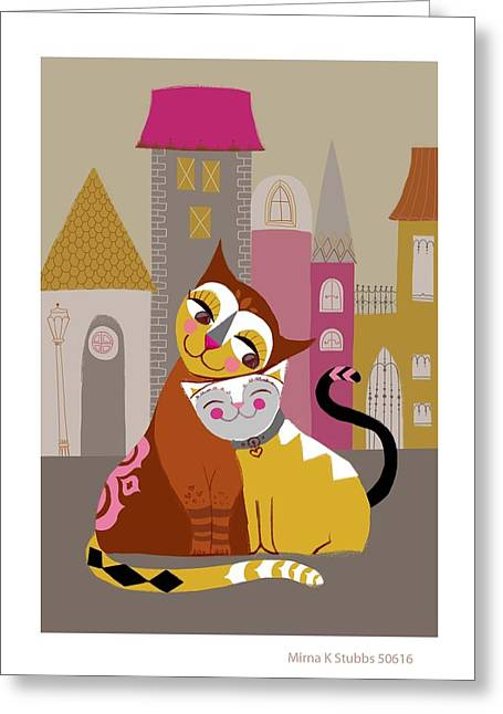Affectionate Greeting Cards - Cat And Kitten Cuddling In Front Of Row Greeting Card by Gillham Studios