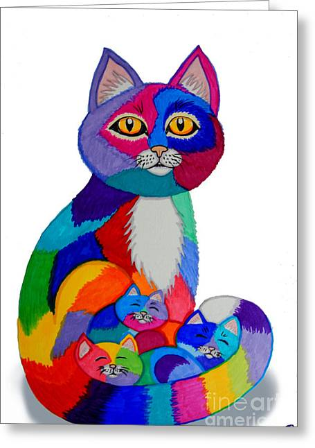 Cat Drawings Greeting Cards - Cat and Kittens 2 Greeting Card by Nick Gustafson
