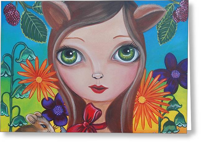 Raspberry Paintings Greeting Cards - Cat and Mouse Greeting Card by Jaz Higgins