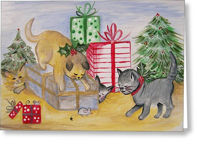 Cat And Mouse Greeting Card by Leslie Manley
