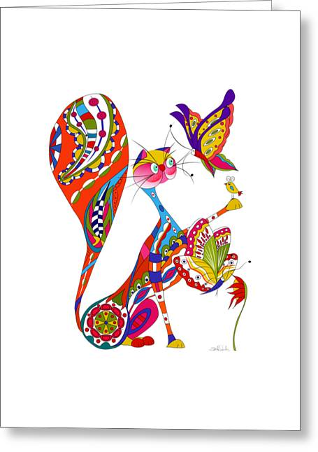 Cat Drawings Greeting Cards - Cat And Two Butterflies Greeting Card by Isabel Salvador