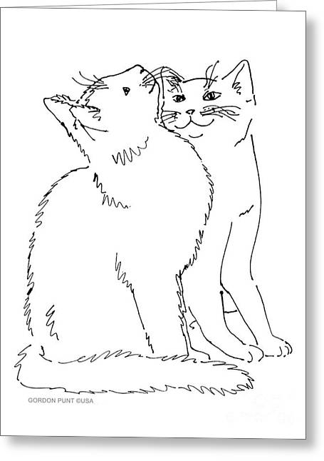 Gordon Punt Greeting Cards - Cat-Art-Curious Greeting Card by Gordon Punt