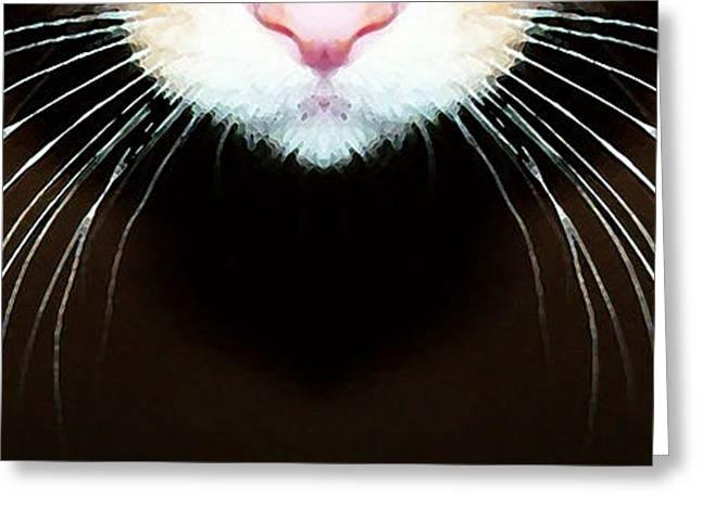 Domestic Digital Greeting Cards - Cat Art - Super Whiskers Greeting Card by Sharon Cummings
