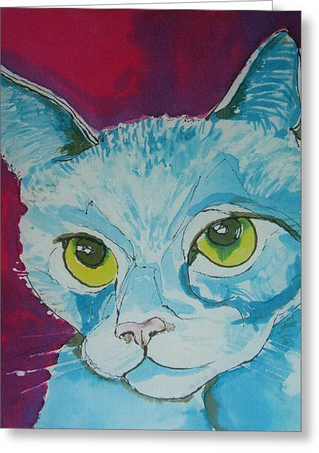 Kitten Tapestries - Textiles Greeting Cards - Cat Ba Lue Greeting Card by Kelly     ZumBerge