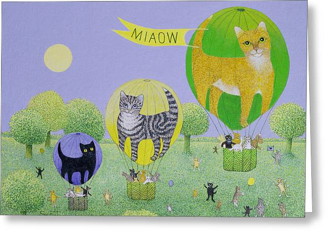 Flags Flying Greeting Cards - Cat Balloon Race Greeting Card by Pat Scott