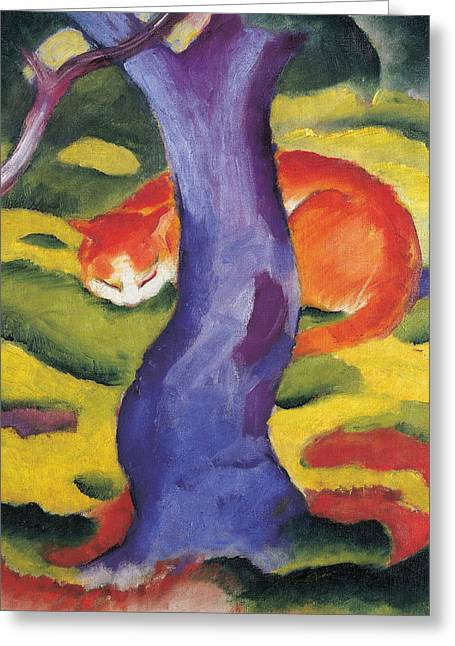 Abstract Shapes Greeting Cards - Cat behind a tree Greeting Card by Franz Marc
