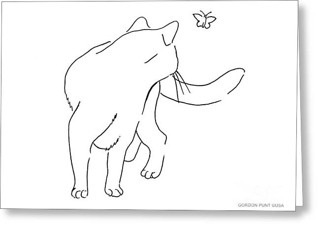 Gordon Punt Greeting Cards - Cat-Drawings-Black-White-2 Greeting Card by Gordon Punt