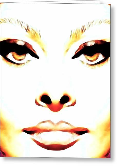 Sophia Loren Portrait Greeting Cards - Cat Eyes Greeting Card by Devalyn Marshall