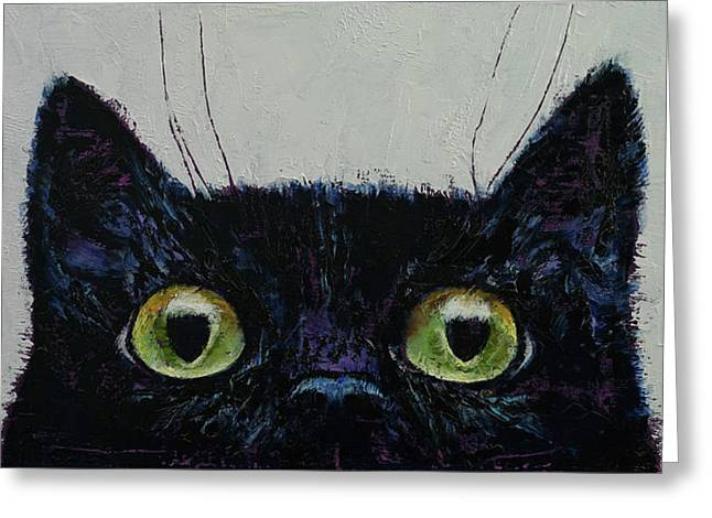 Cat Eyes Greeting Card by Michael Creese