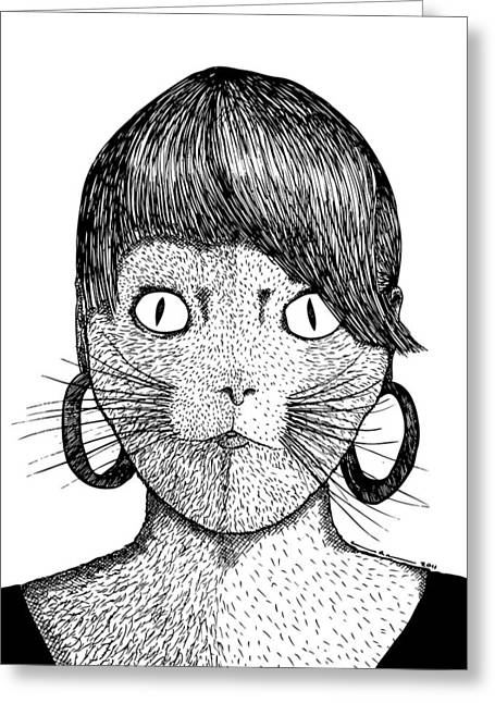 Kitty Kat Greeting Cards - Cat Frau Greeting Card by Karl Addison