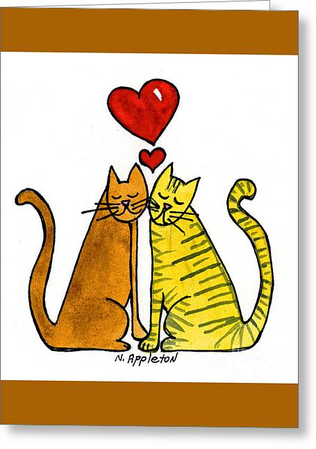 Appleton Paintings Greeting Cards - Cat Friends Greeting Card by Norma Appleton