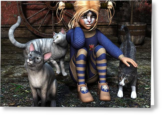 Cat Girl Greeting Card by Jutta Maria Pusl