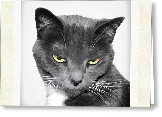 Color Enhanced Greeting Cards - Cat Goddess Greeting Card by Gabriele Pomykaj