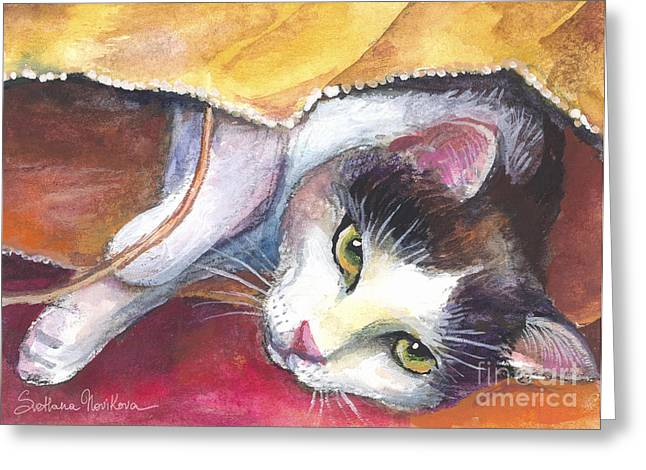 Cat Prints Greeting Cards - Cat in a bag painting Greeting Card by Svetlana Novikova