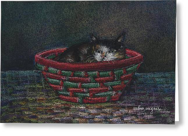 Basket Pastels Greeting Cards - Cat In A Basket Greeting Card by Arline Wagner