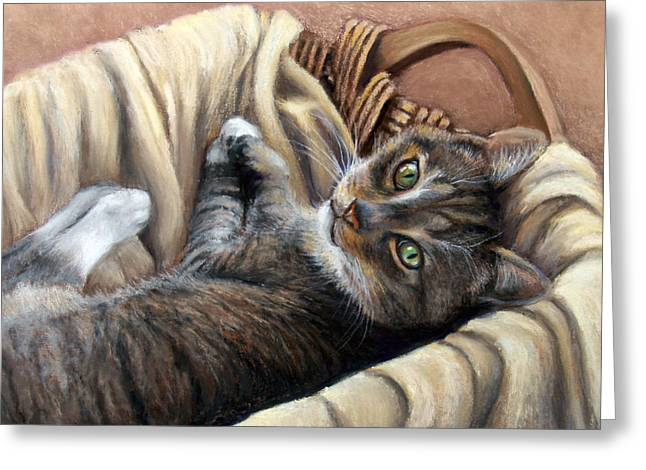 Animal Pastels Greeting Cards - Cat in a Basket Greeting Card by Susan Jenkins