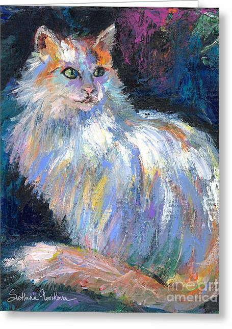 Contemporary Art Drawings Greeting Cards - Cat In A Sun Painting  Greeting Card by Svetlana Novikova