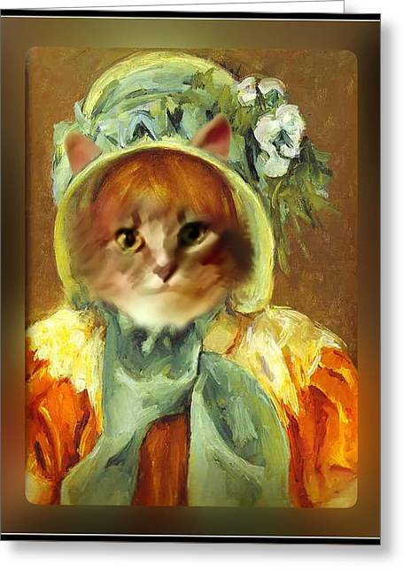 Cat In Bonnet Greeting Card by Gravityx9 Designs