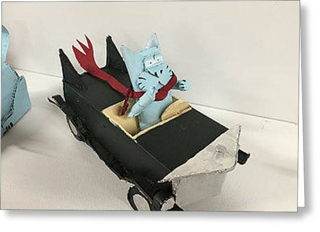 Bill Cat In Car Greeting Card by William Douglas
