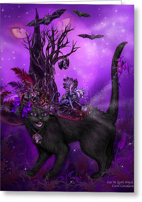 Hat Art Cat In Hat Art Greeting Cards - Cat In Goth Witch Hat Greeting Card by Carol Cavalaris